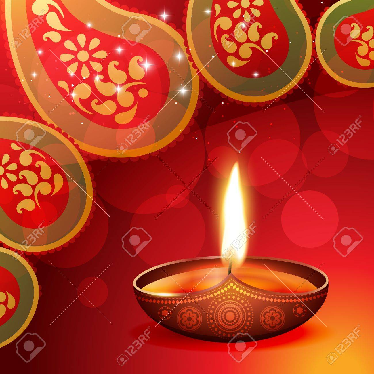 beautiful diwali diya on artistic background Stock Vector - 15656226