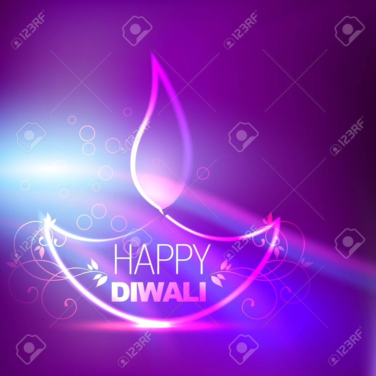 creative diwali diya on purple background Stock Vector - 15656121