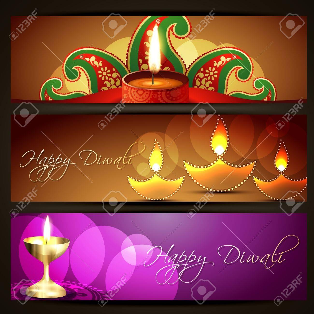 set of diwali headers designs Stock Vector - 15655914