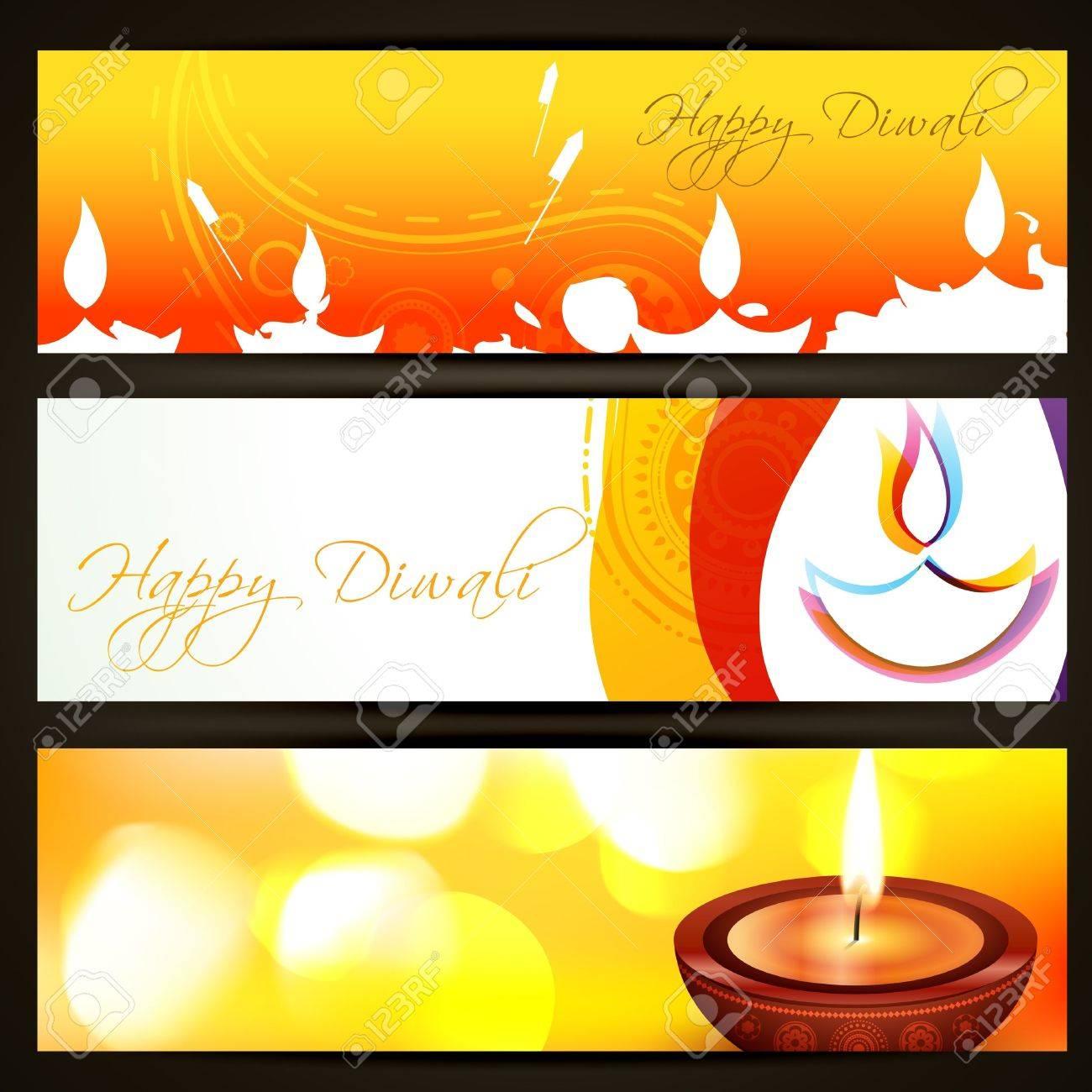 beautiful colorful set of diwali headers Stock Vector - 15652024