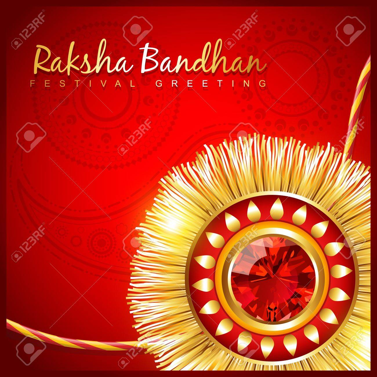 beautiful hindu festival rakhi on red background Stock Vector - 21282040