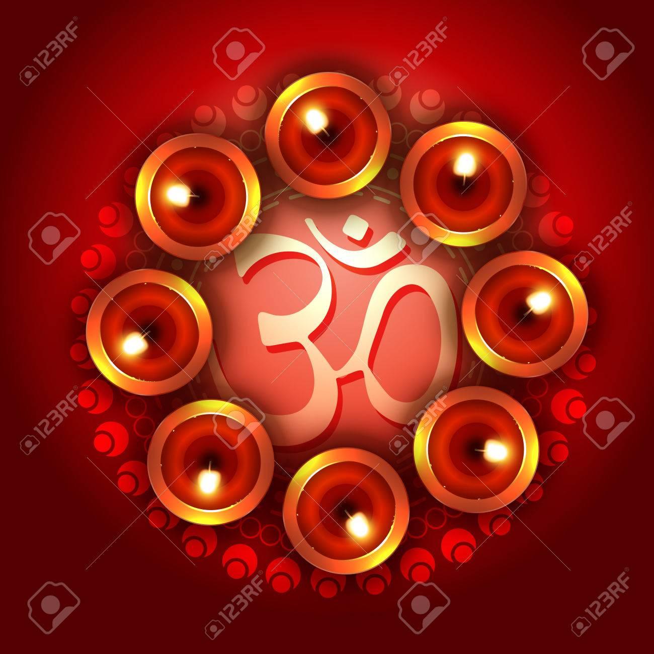 diwali background with diya and om symbol Stock Vector - 22464008