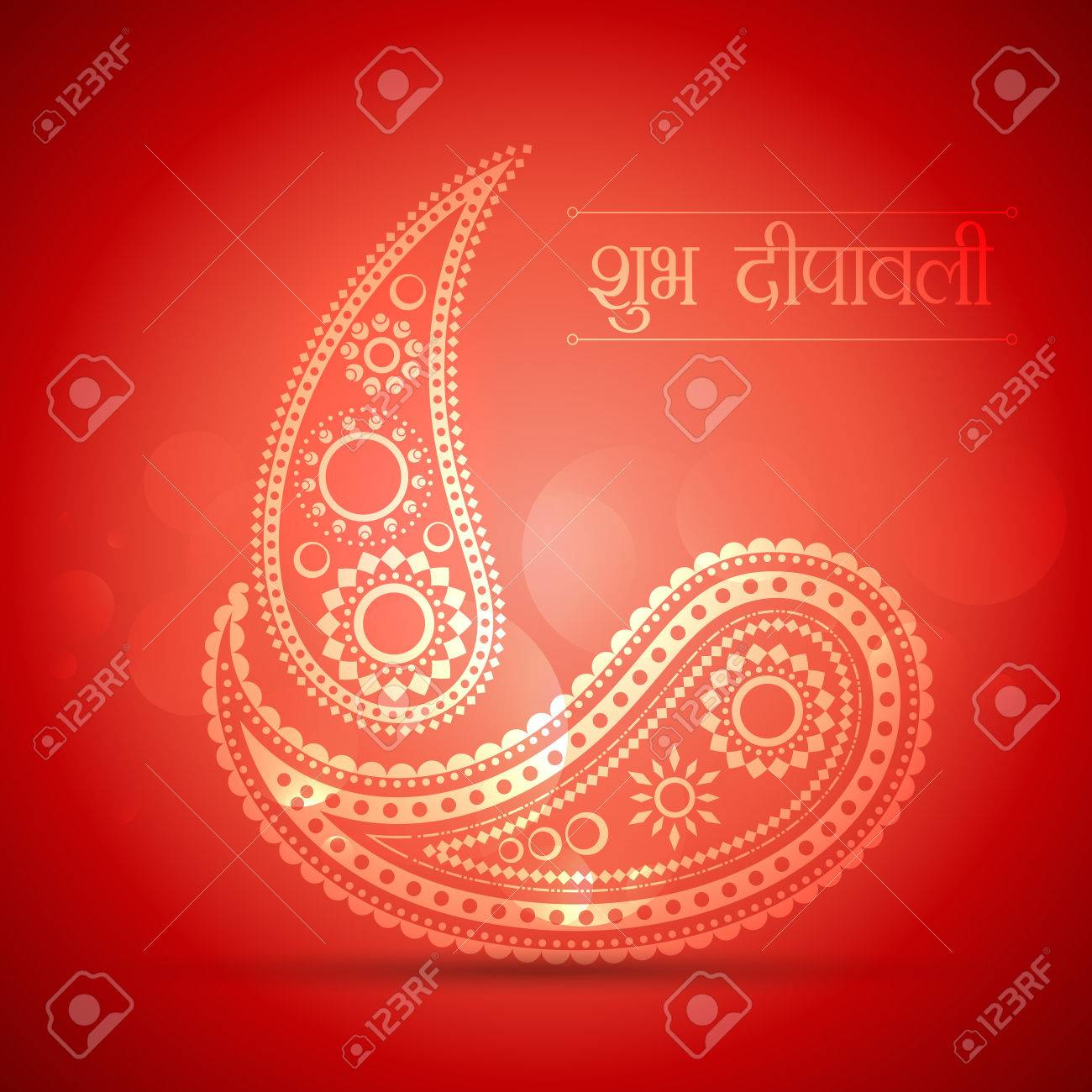 creative diwali diya made with paisley design Stock Vector - 22463928