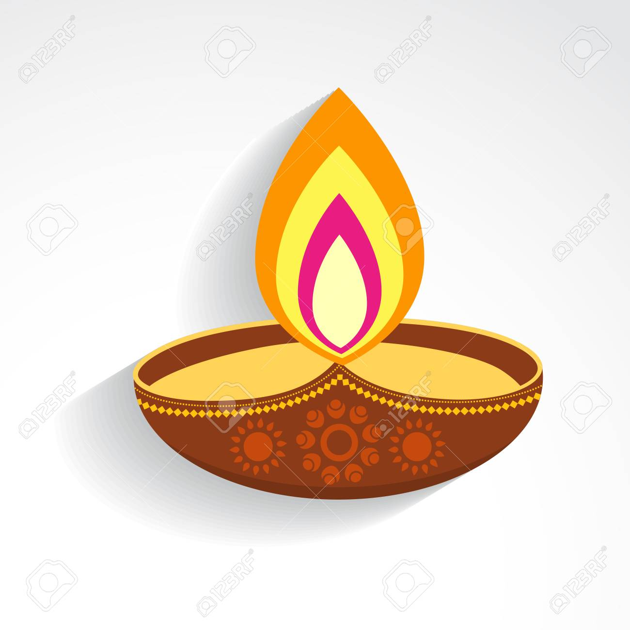 Creative Colorful Vector Diwali Festival Diya Design Royalty Free ... for Diwali Lamp Designs  575cpg