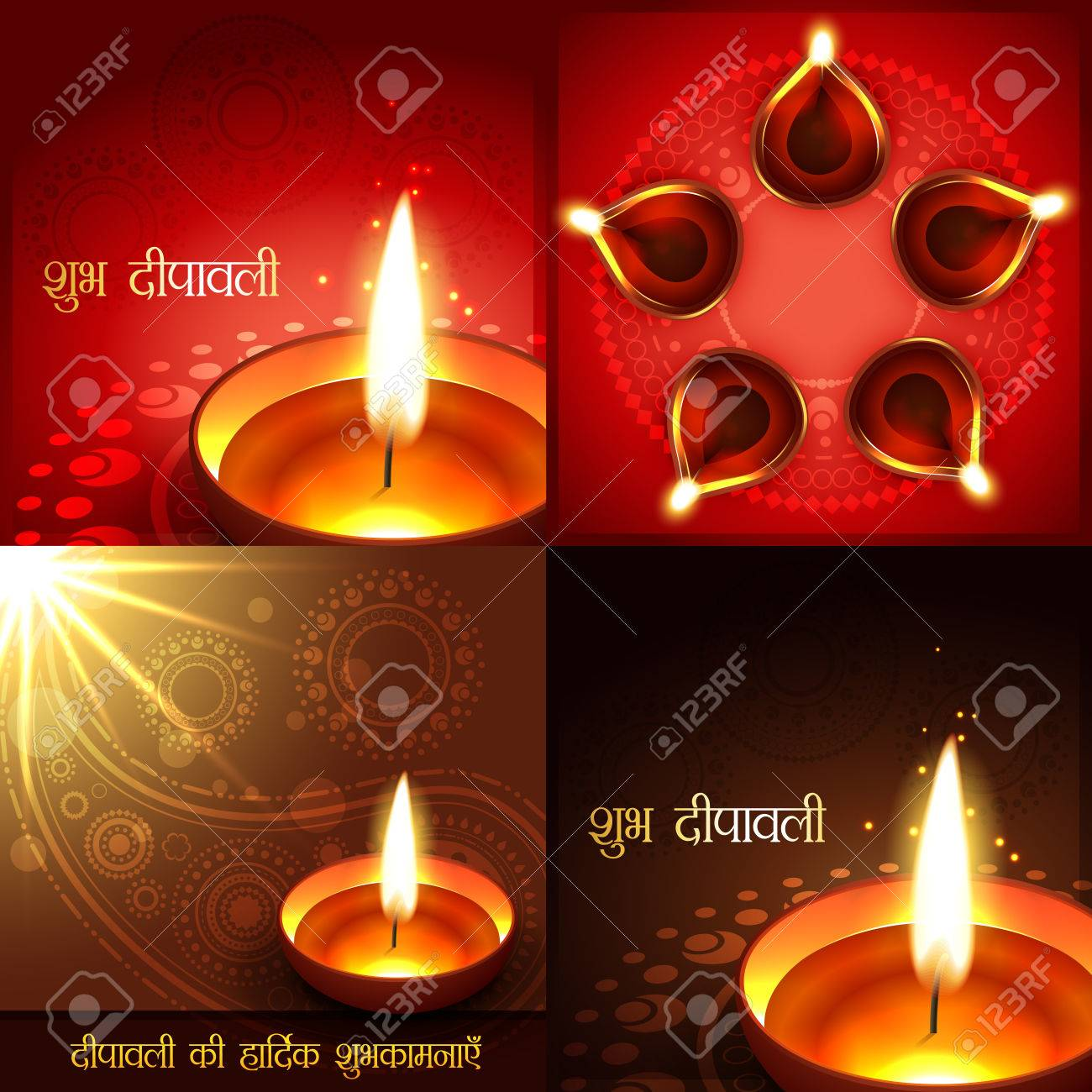 Vector set of beautiful diwali background illustration shubh vector set of beautiful diwali background illustration shubh deepawali translation happy diwali m4hsunfo