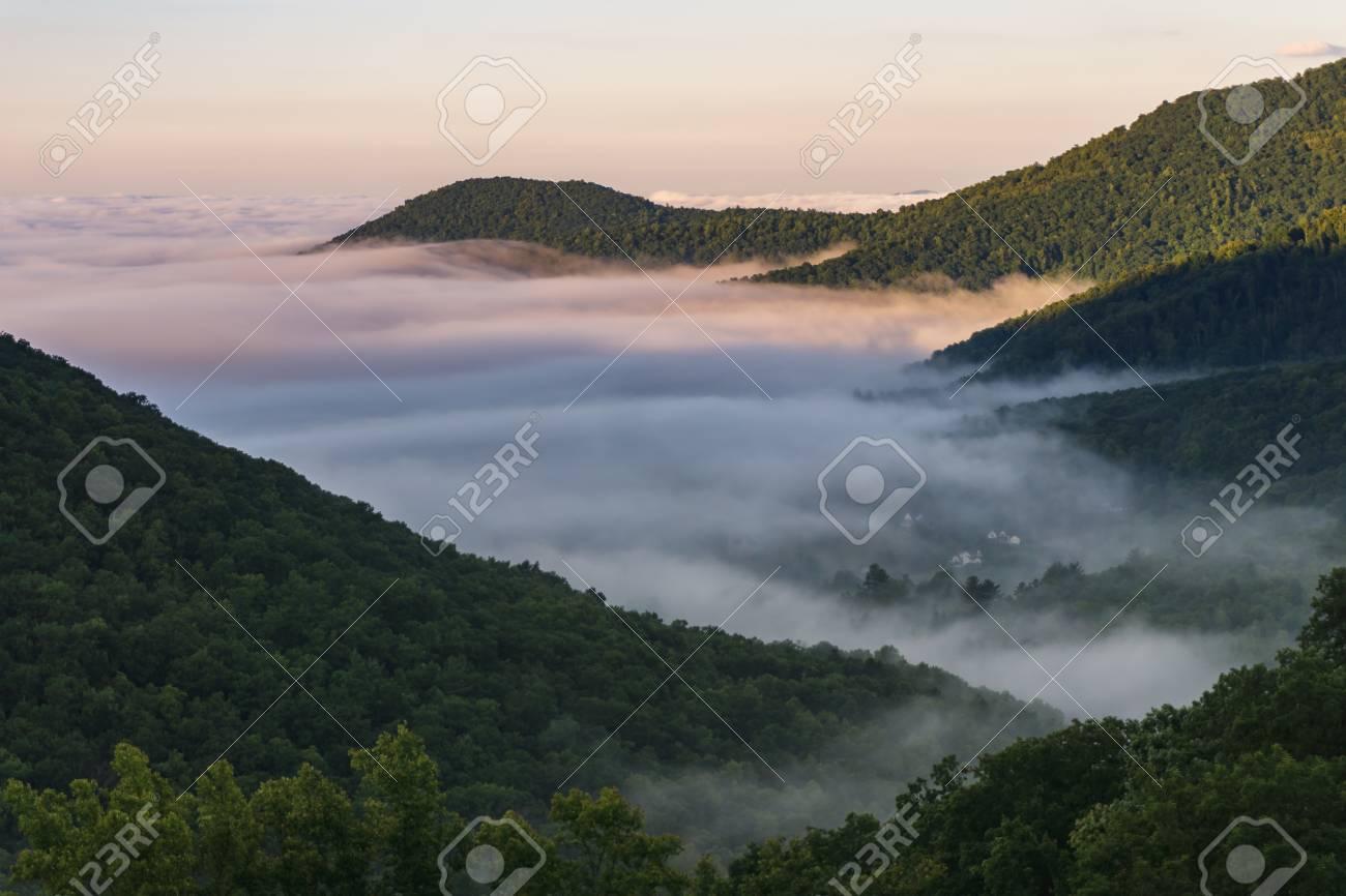 Foggy Morning Sunrise In The Blue Ridge Mountains Outside Of