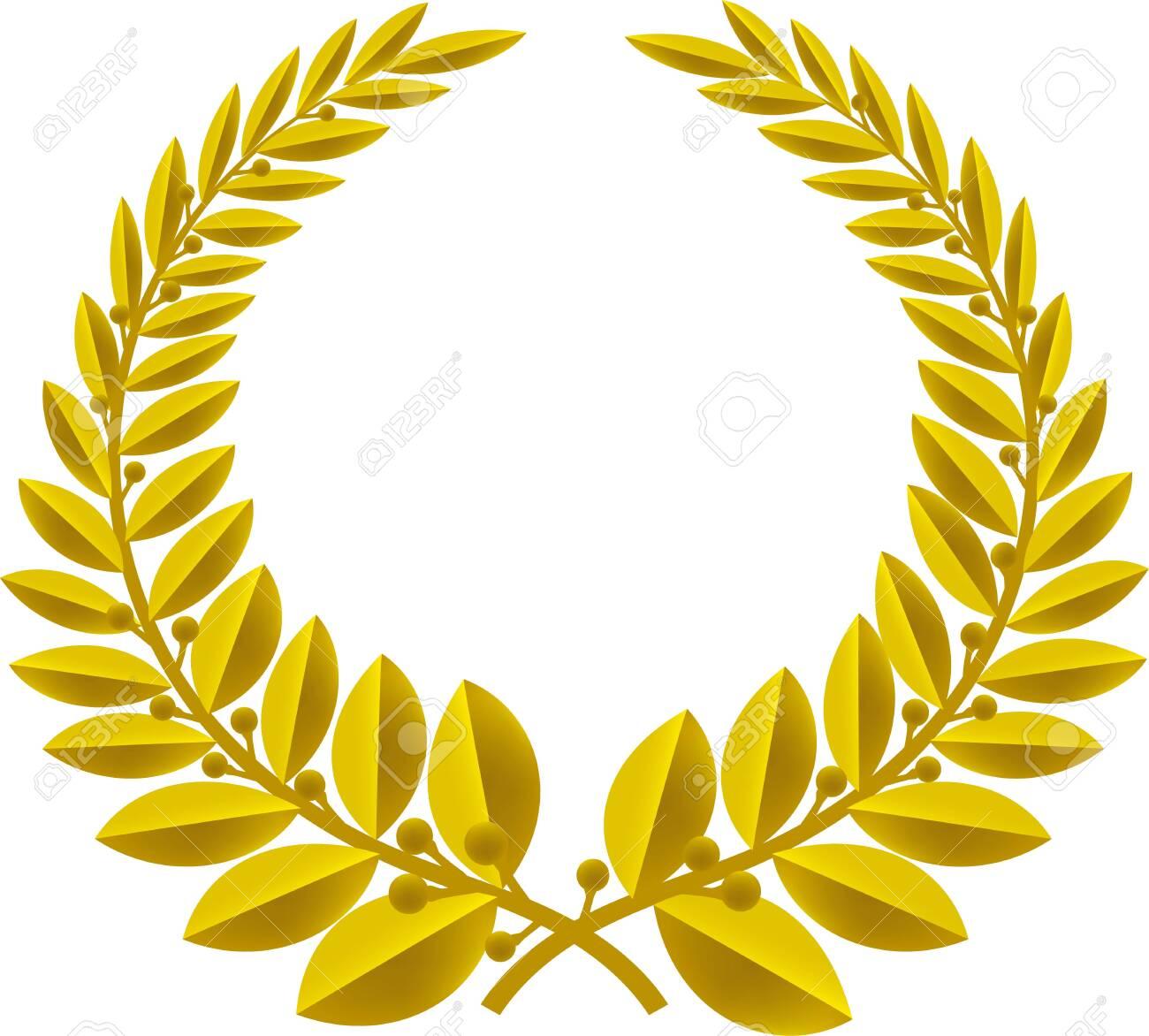Geometric laurel wreath symbol isolated. Color bronze. - 124065290