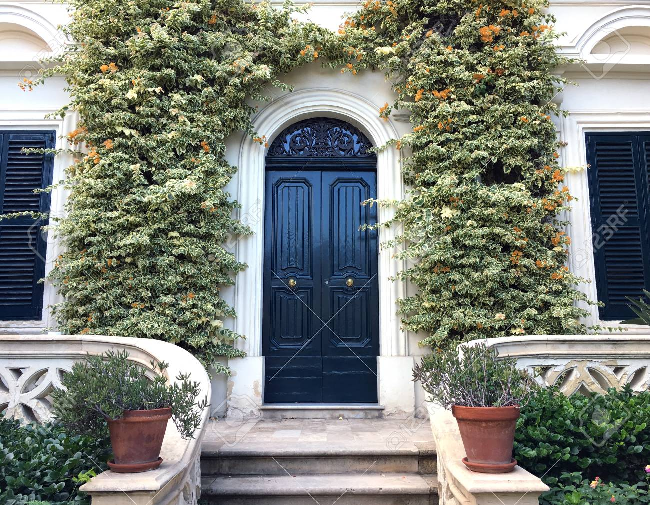 View Of A Beautiful House Exterior And Front Door Seen There Stock Photo Picture Royalty Free Image 111836120