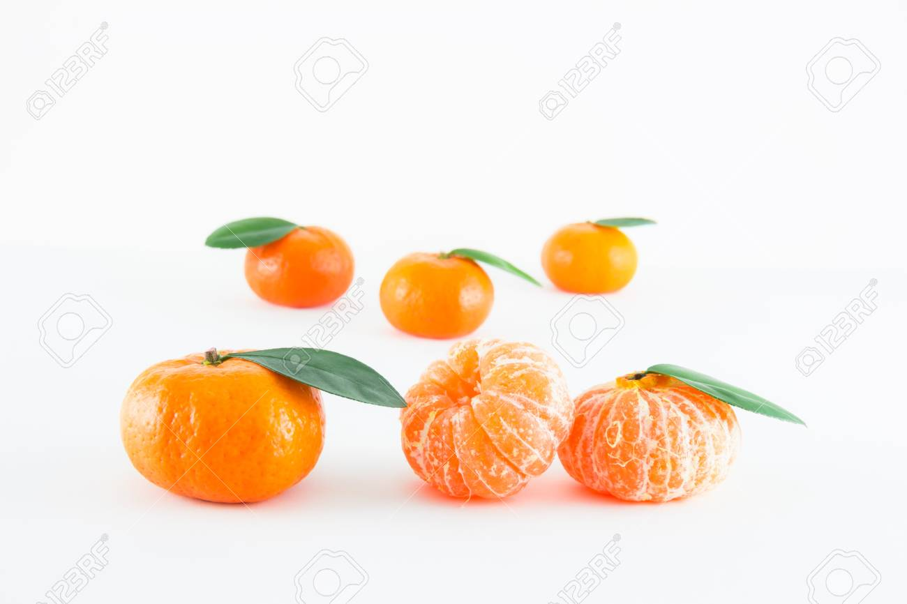 Mandarin orange, Citrus reticulata isolated on white background Stock Photo - 17714810