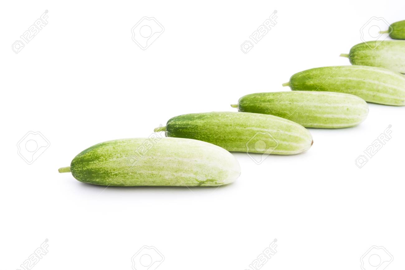 The green cucumbers isolated on white Stock Photo - 17921460