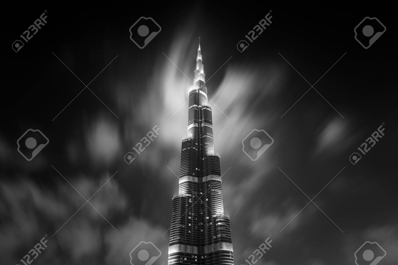 Black and white long exposure photo dubai uae march 28 2014 view of burj khalifa tower at night with