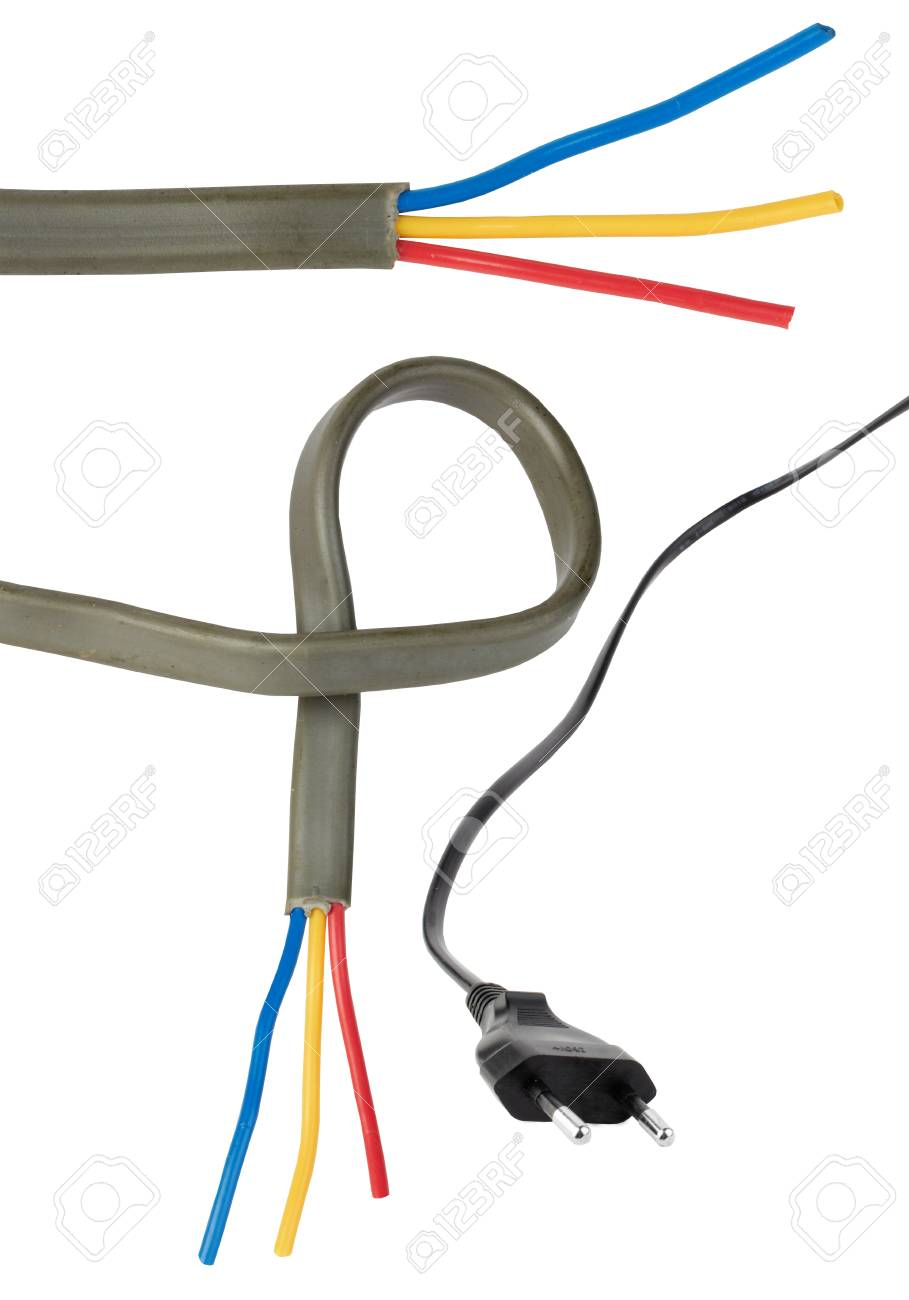 Black electric cable isolated on white Stock Photo - 12069153