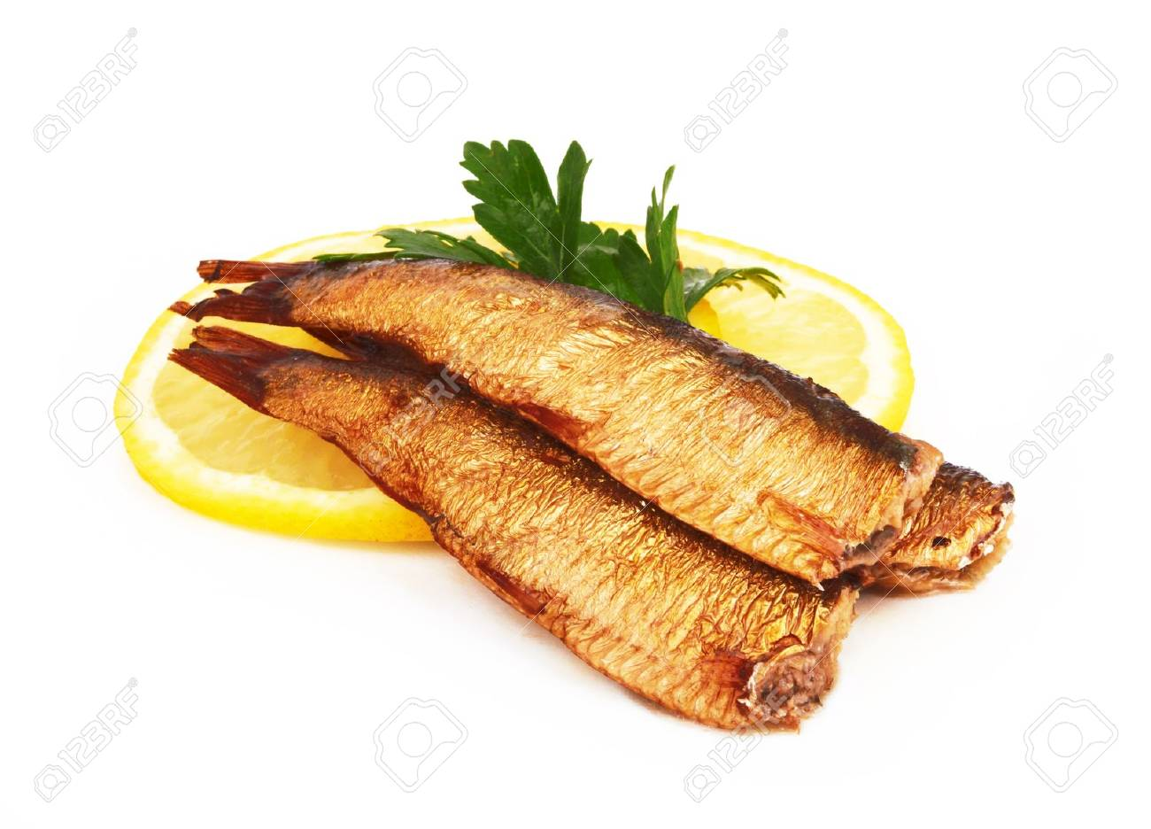 Smoked sprats in oil on white background Stock Photo - 16052129