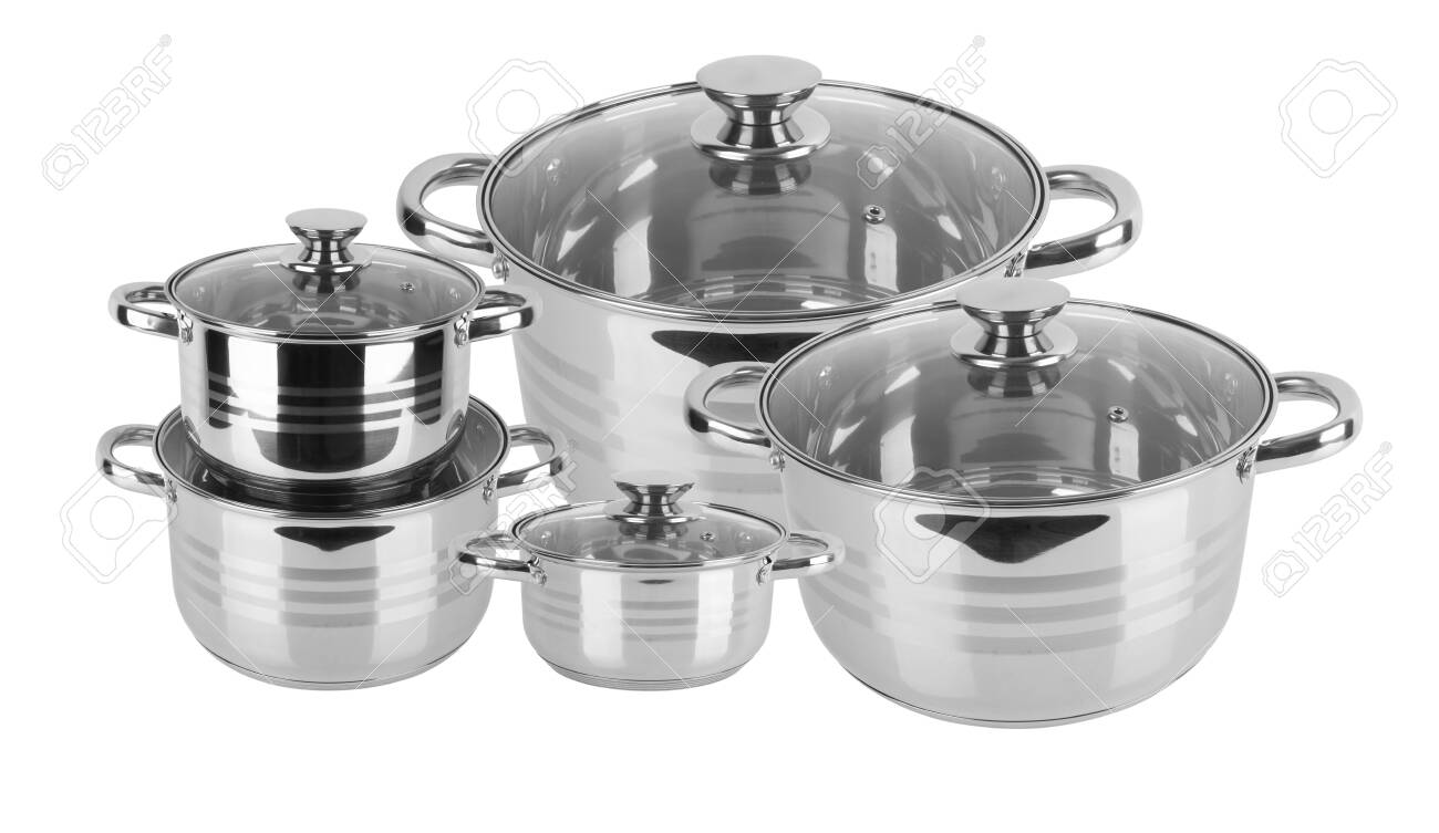 chrome pan with lid isolated on white background - 146365440