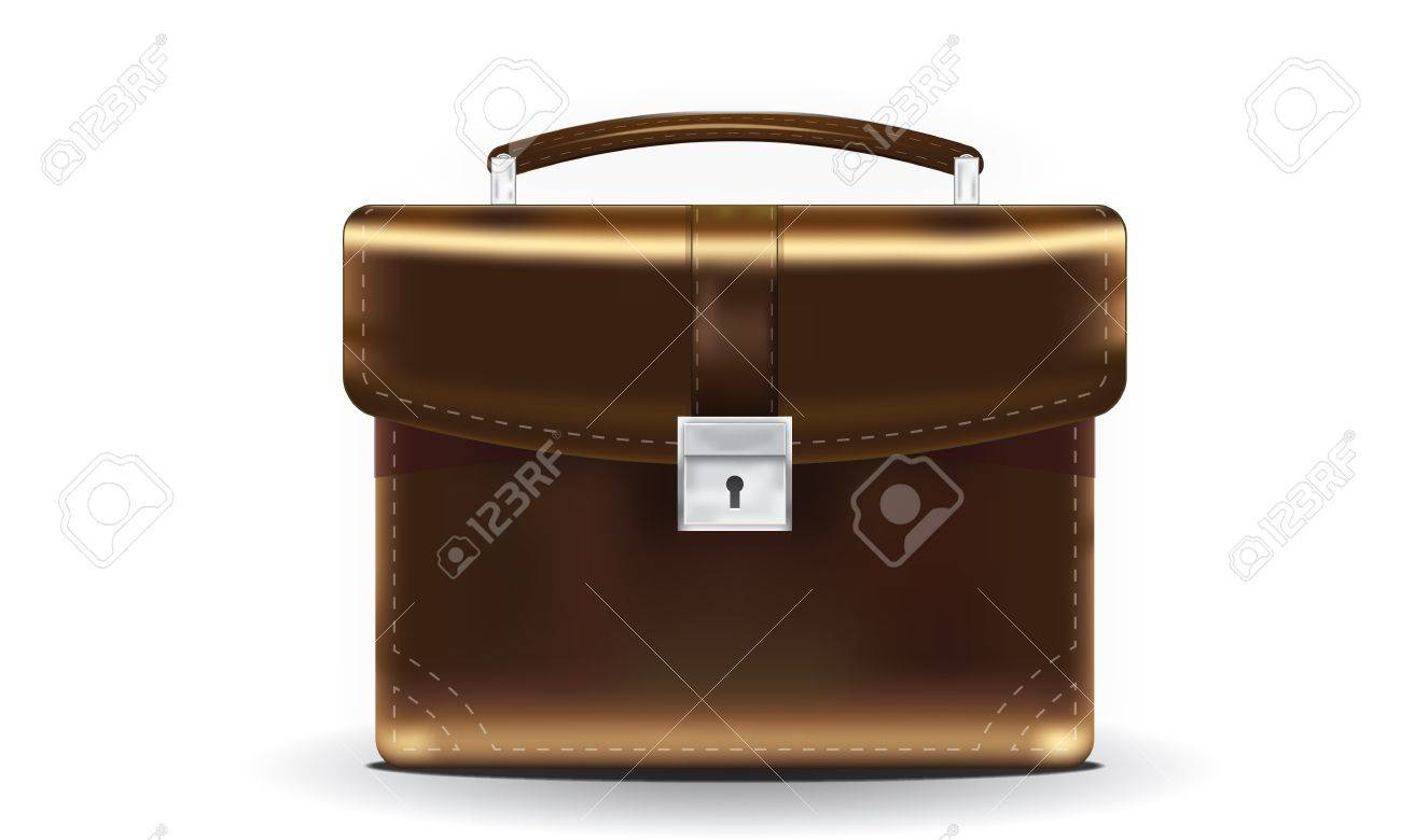 Brown Briefcase with lock and handle Stock Vector - 14287448