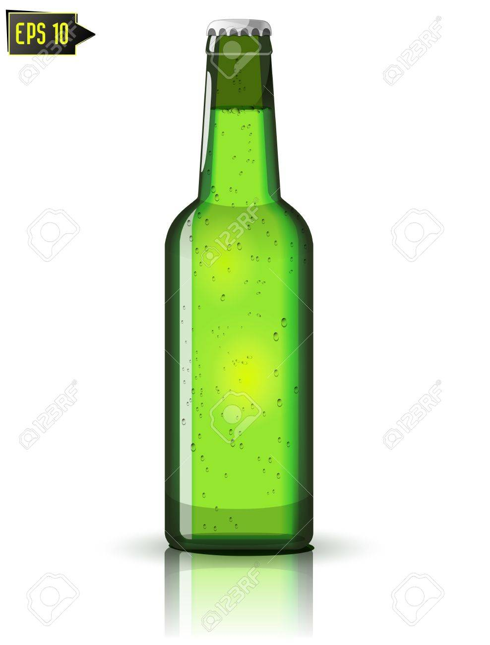 green beer bottle isolated with reflection Stock Vector - 16462758