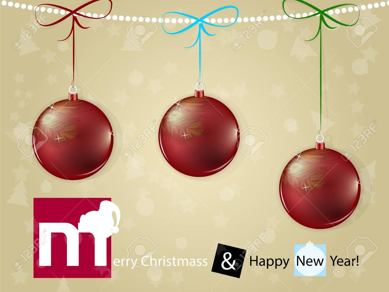 Christmas card with red shine christmas ball Stock Vector - 16855680