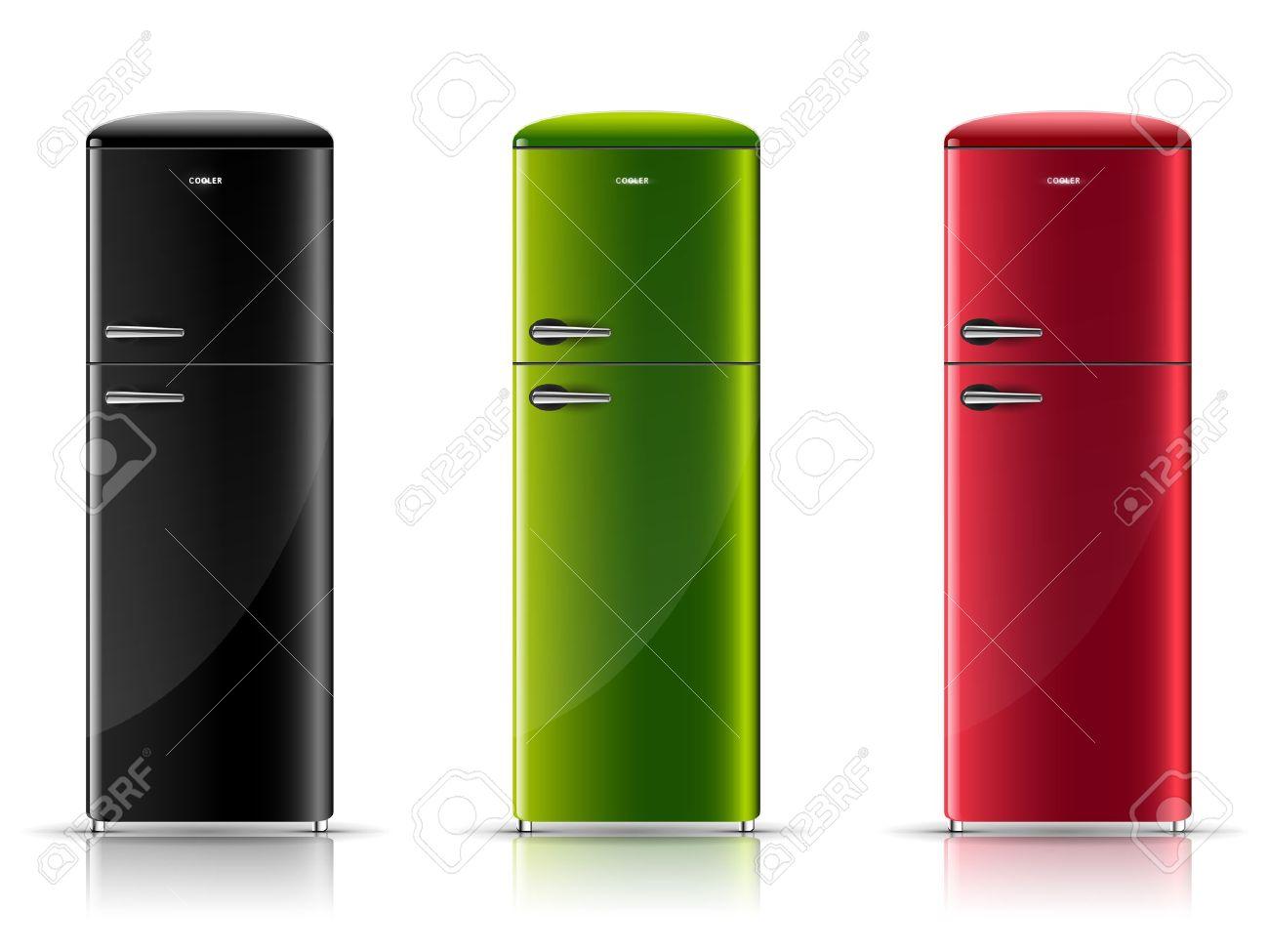 Retro Kühlschrank In Schwarz : Drei realistische retro kühlschrank schwarz grün und rot