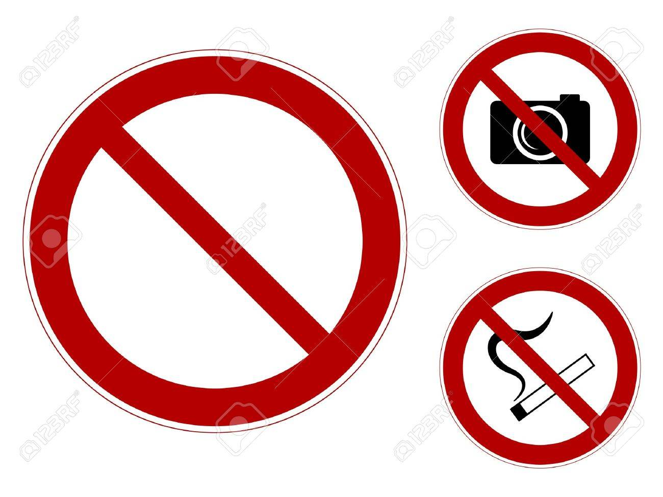 a set of prohibiting signs template smoking it is forbidden