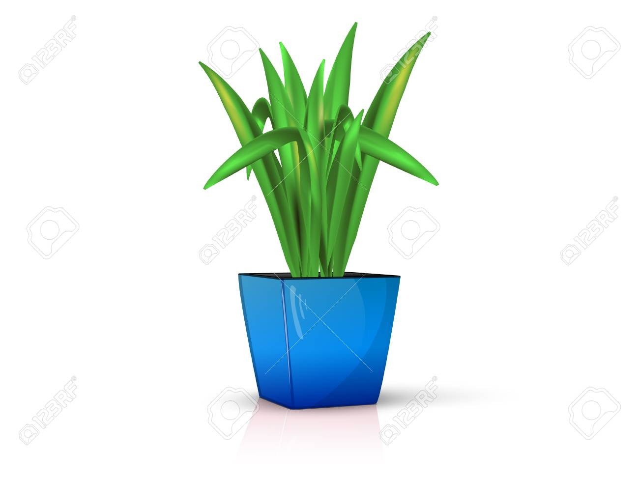 flower in glossy blue pot, realistic, volume with the reflection of the Stock Vector - 19910303