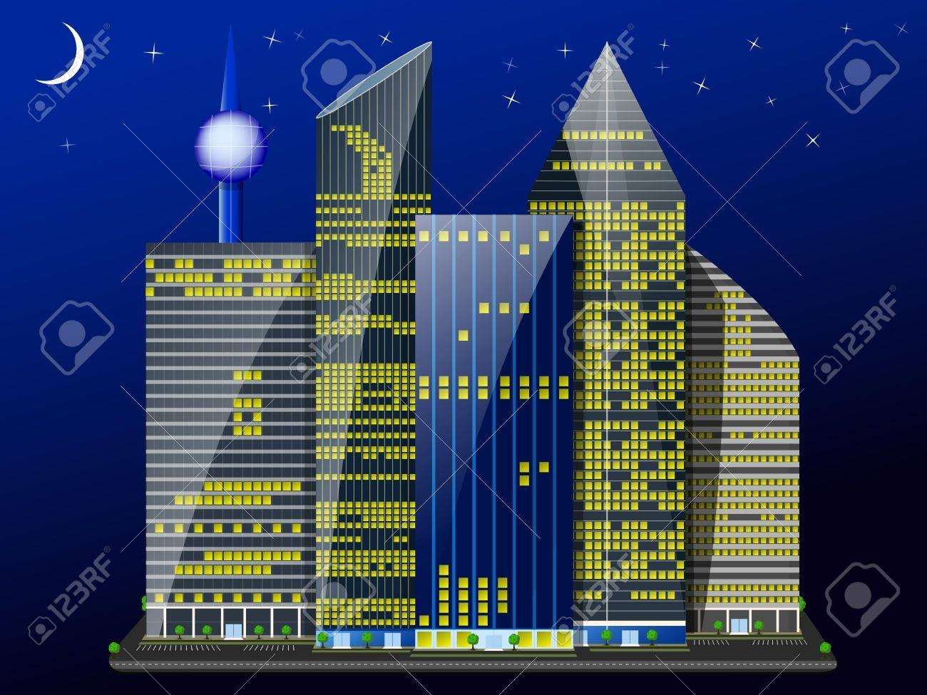 night city of skyscrapers under the shining of the moon and stars Stock Vector - 20849264