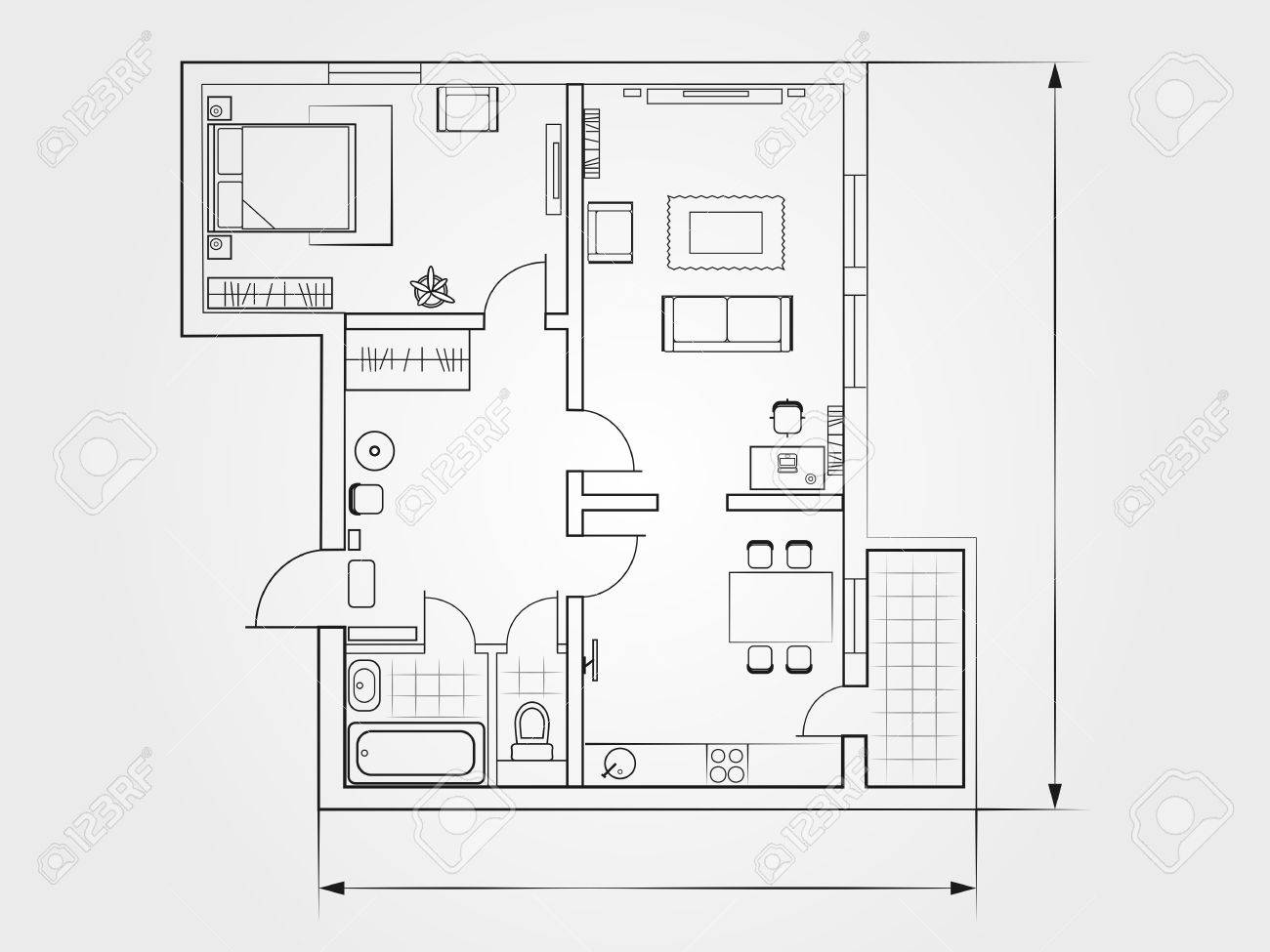 the architectural plan. the layout of the apartment with the furniture in the drawing view - 55883157
