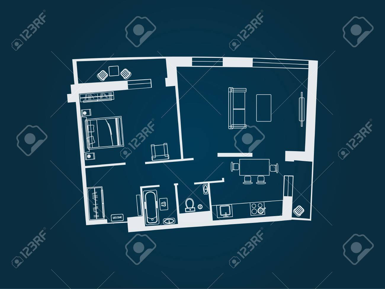 Drawing Of The Layout Apartment With Furniture Kitchen Living Room Bedroom