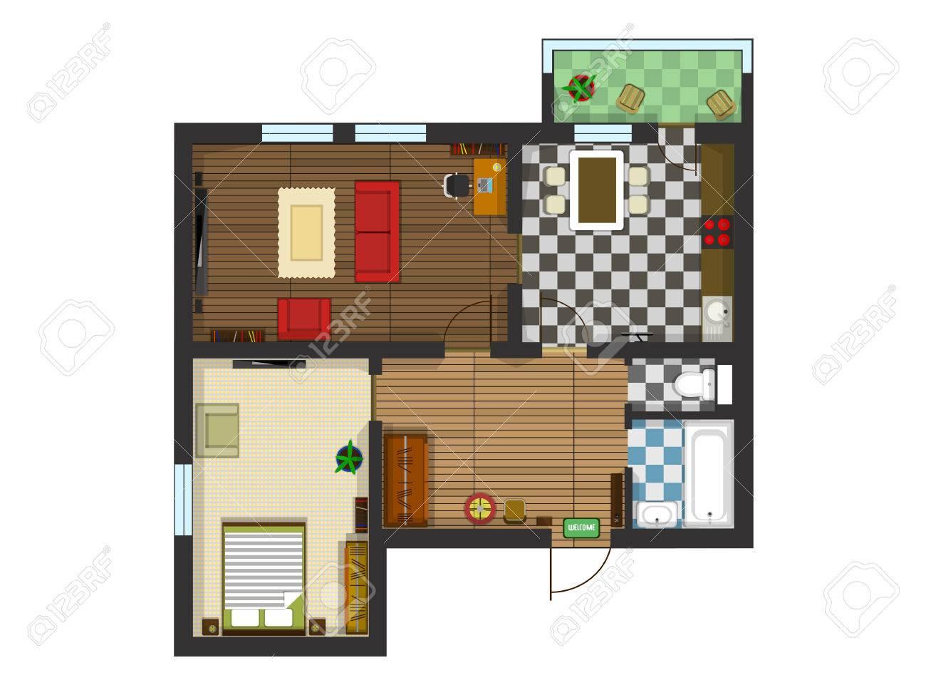 Plan Der Wohnung Mit Möbeln. Küche, Wohnzimmer, Schlafzimmer Und ...