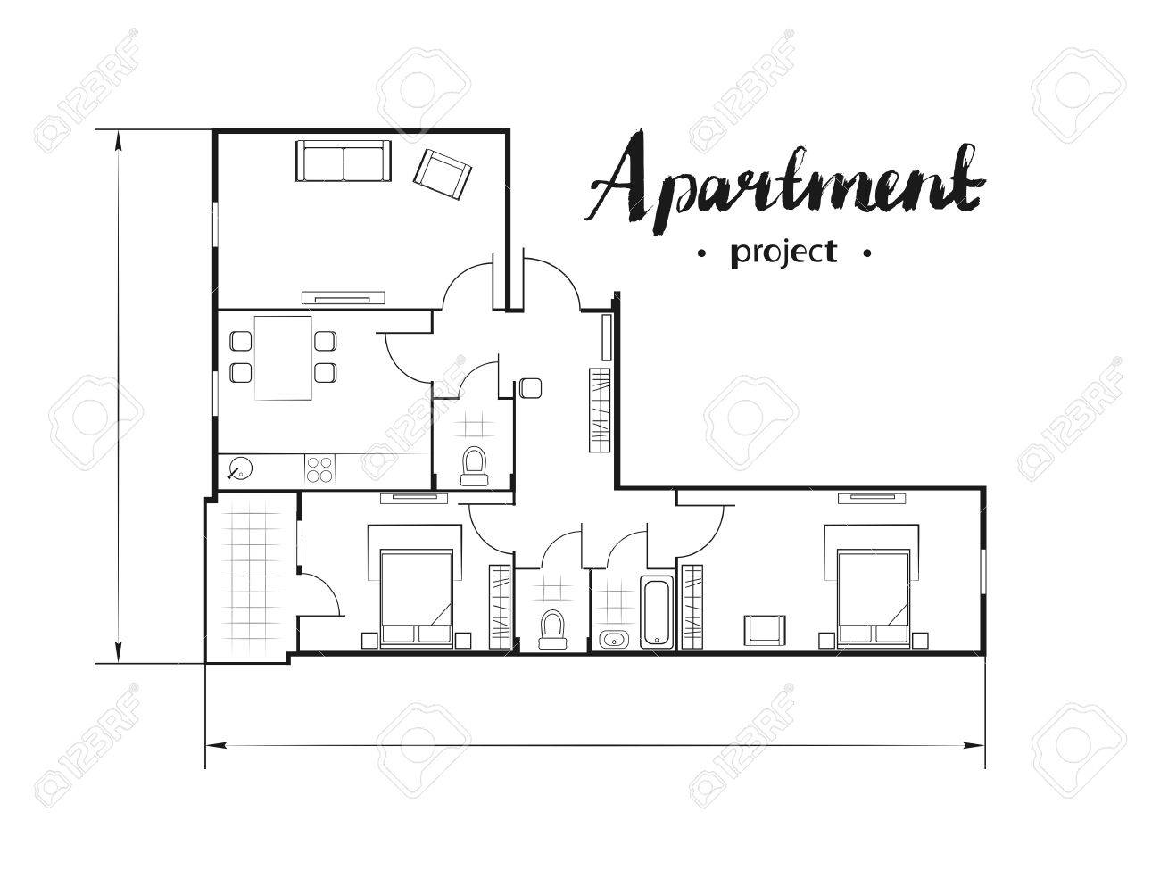 Apartment Project With Furniture Kitchen Living Room Two Bedroom And Balcony Handwritten
