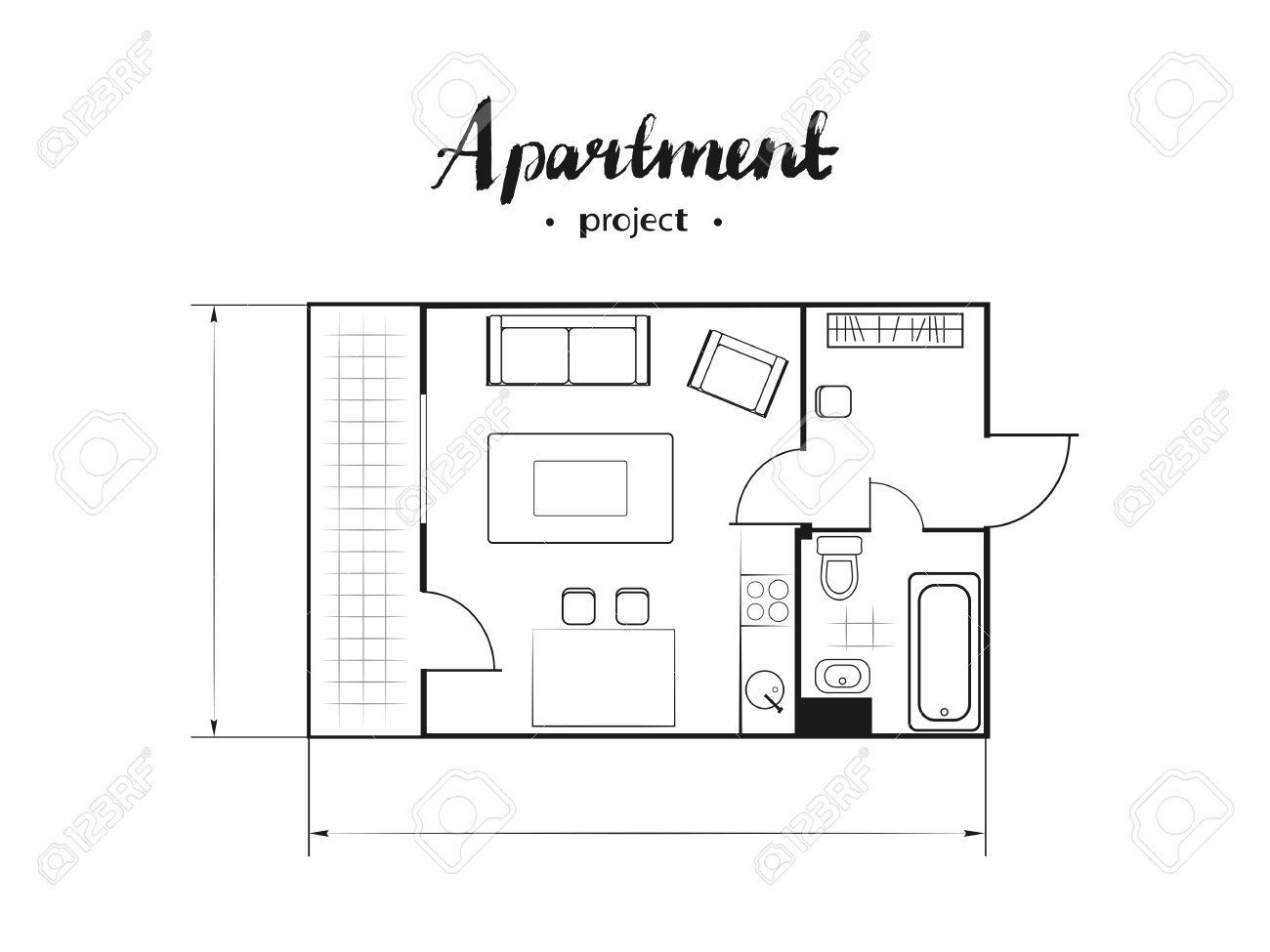 Proyecto de apartamentos con muebles. Cocina, sala de estar, dos  dormitorios y balcón. inscripción manuscrita. Ilustración vectorial de la  vista ...