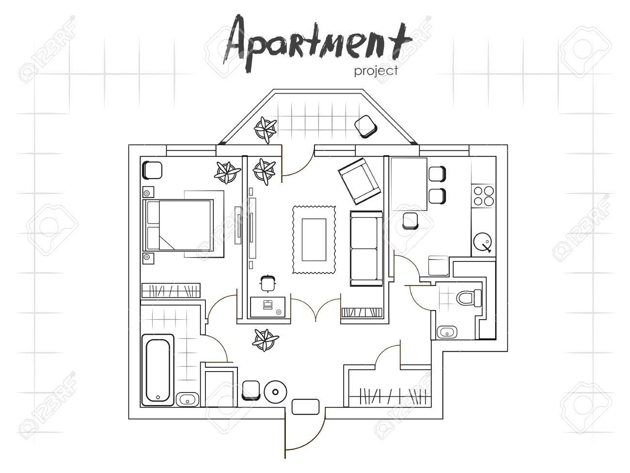 Apartment Project Floor Plan With Furniture Kitchen Living
