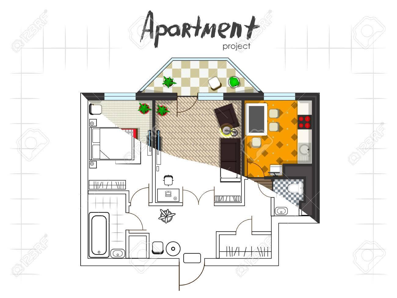 Apartment-Projekt. Grundriss Mit Möbeln. Küche, Wohnzimmer, Zwei ...