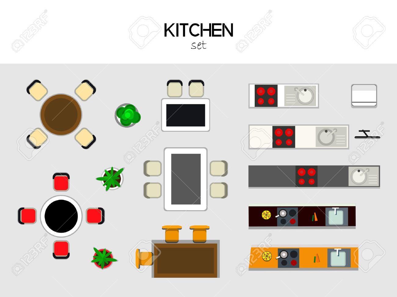 Ensemble De Meubles Pour La Kithen Vue De Dessus Table Avec Des Chaises Cuisine Avec Evier Et La Cuisiniere Refrigerateur Tv