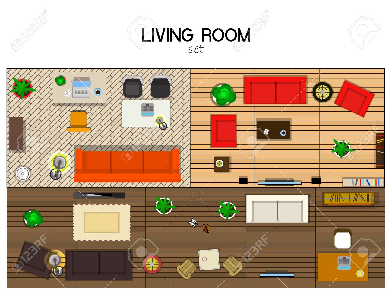 Vector Set Of Furniture For The Living Room Top View Sofas
