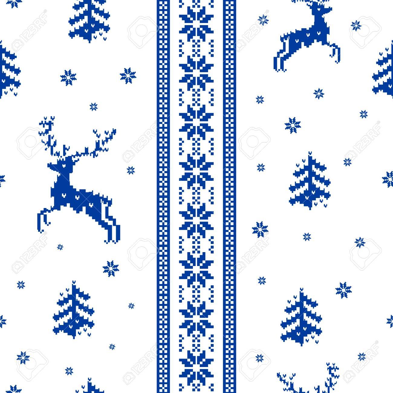 Sin Costura Patrón Rayado De La Navidad De Punto De Renos, árboles Y ...