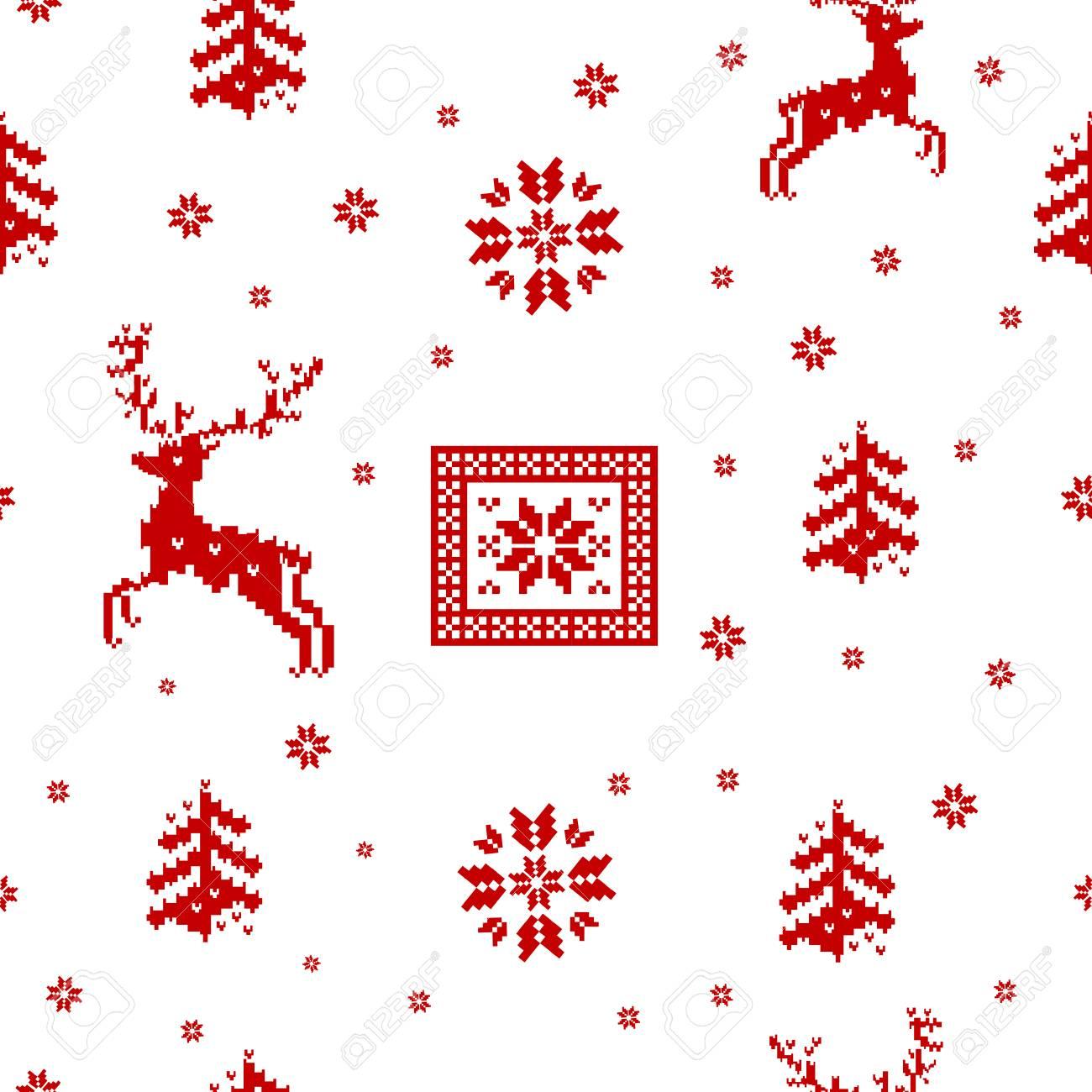 Sin Costura De Rayas Rojas De Navidad Patrón De Punto De Renos ...
