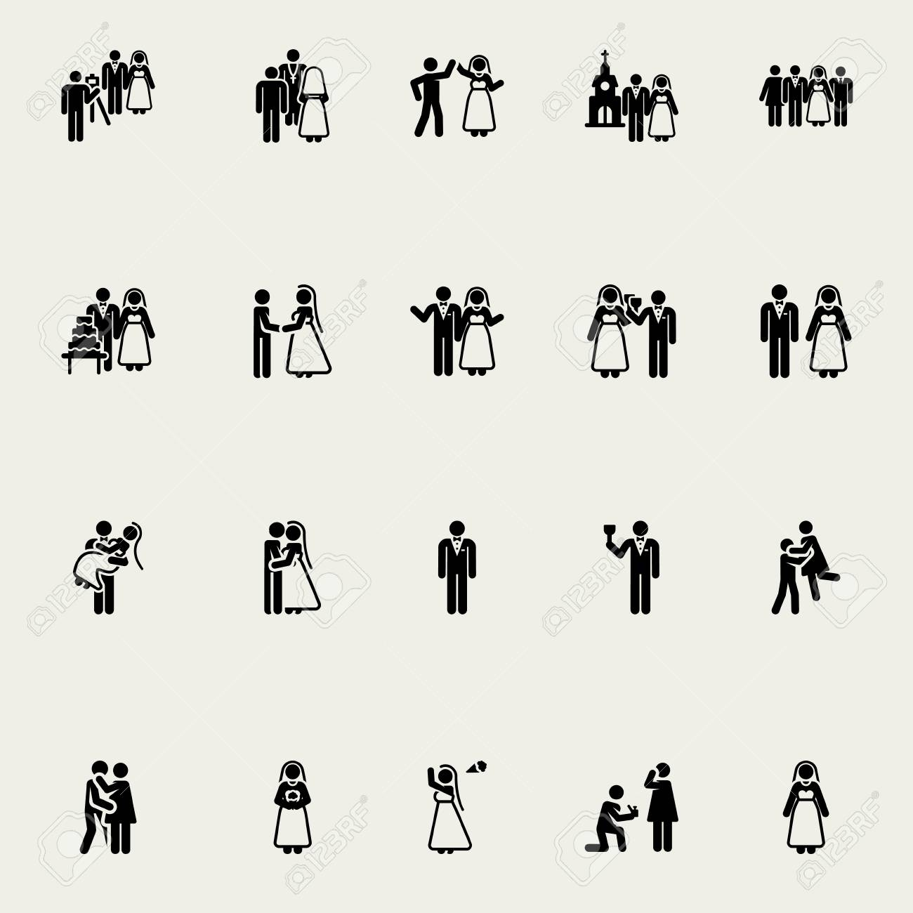 wedding stick figures vector design elements monochrome royalty