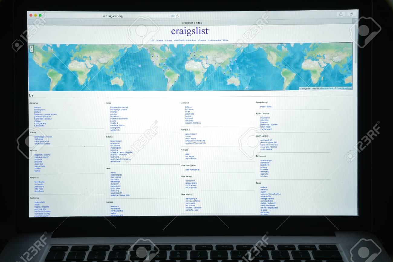 Milan, Italy - August 10, 2017: Craigslist org website homepage