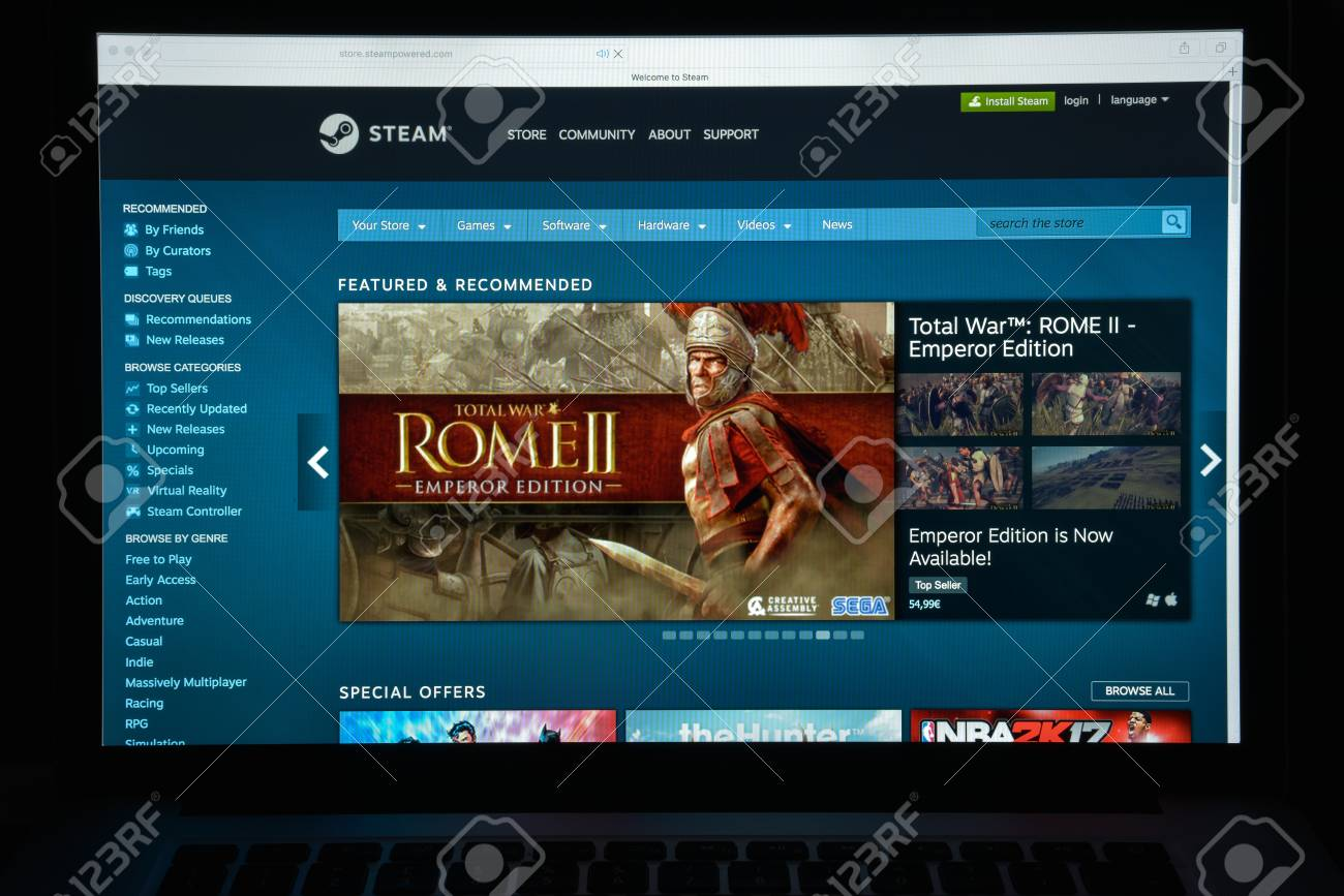Milan, Italy - August 10, 2017: Steam store website  It is a
