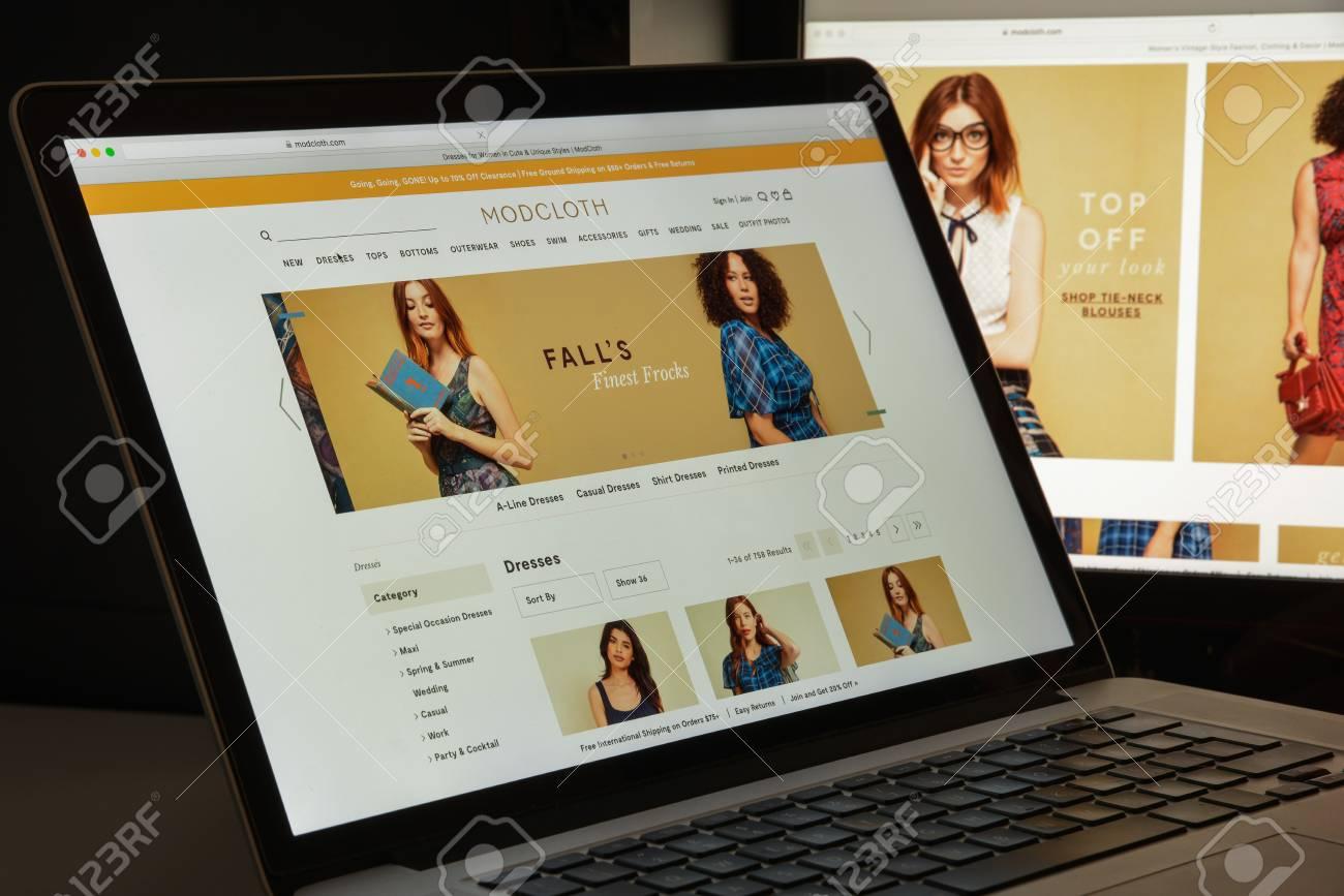 mailand, italien - 10. august 2017: modcloth-website-startseite. es ist ein  amerikanischer online-einzelhändler für damen- und indie-kleidung.