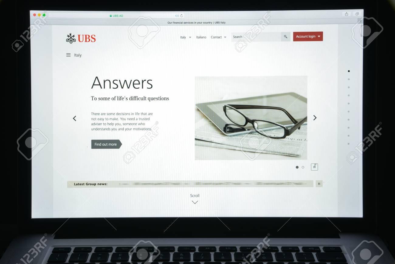 Milan, Italy - August 10, 2017: UBS bank website homepage  It