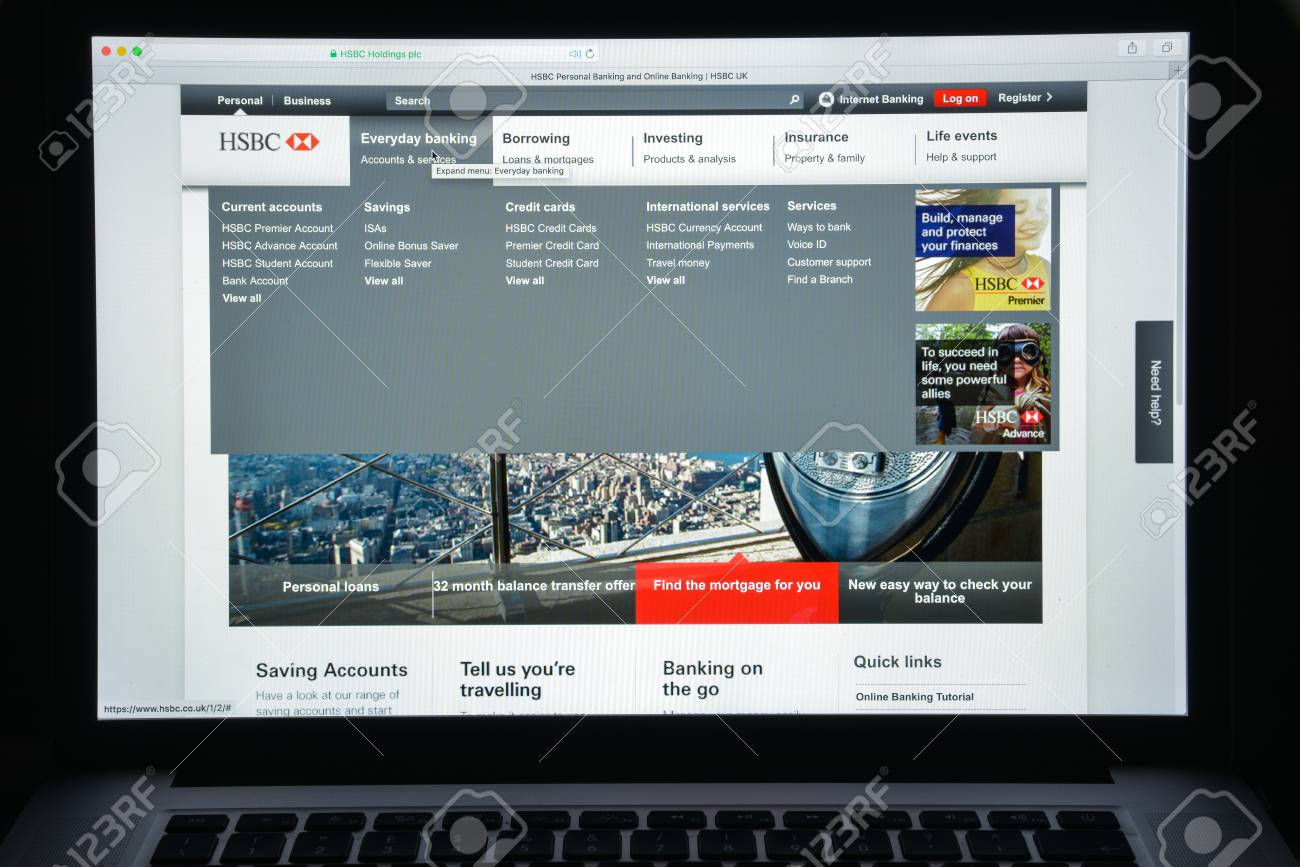 Milan, Italy - August 10, 2017: Hsbc bank website homepage  It