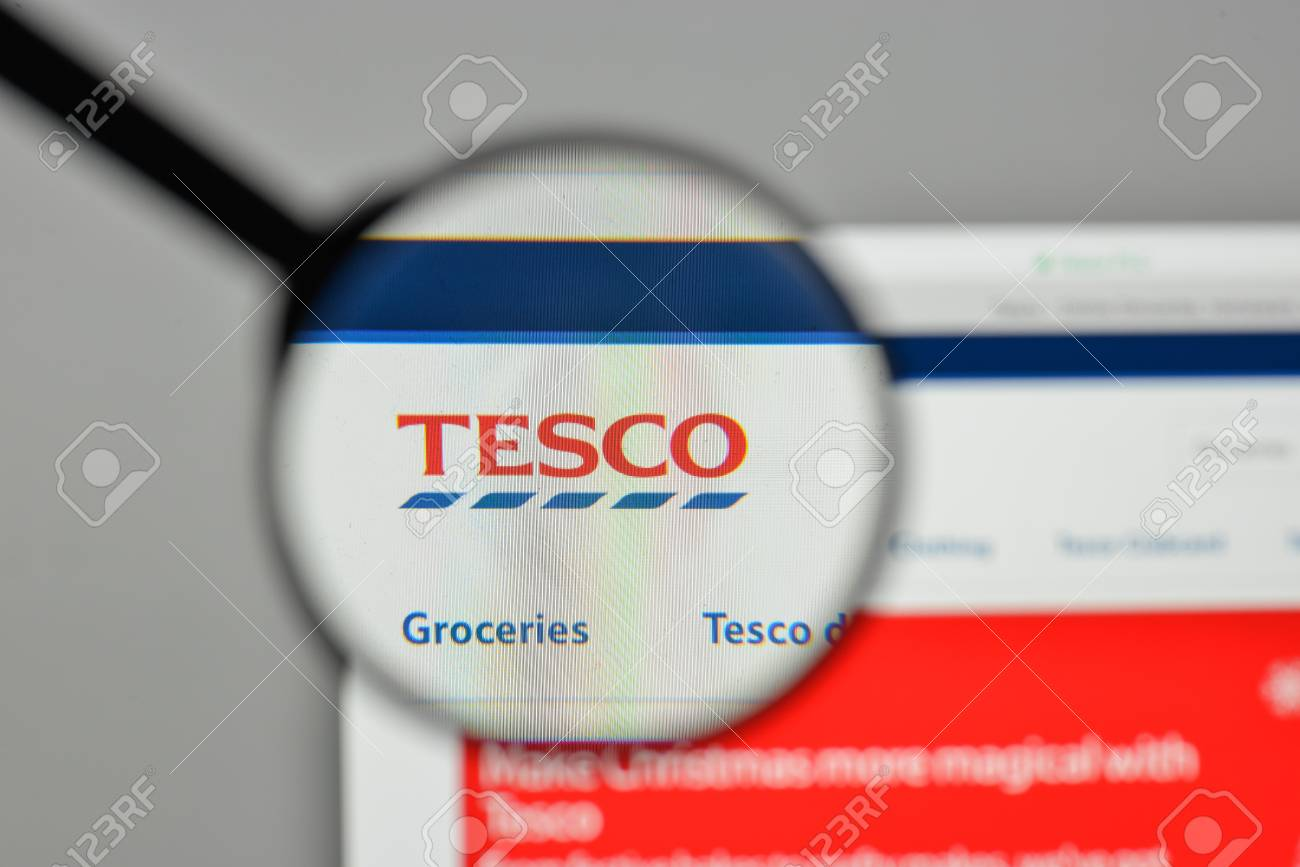 Milan, Italy - November 1, 2017: Tesco logo on the website homepage