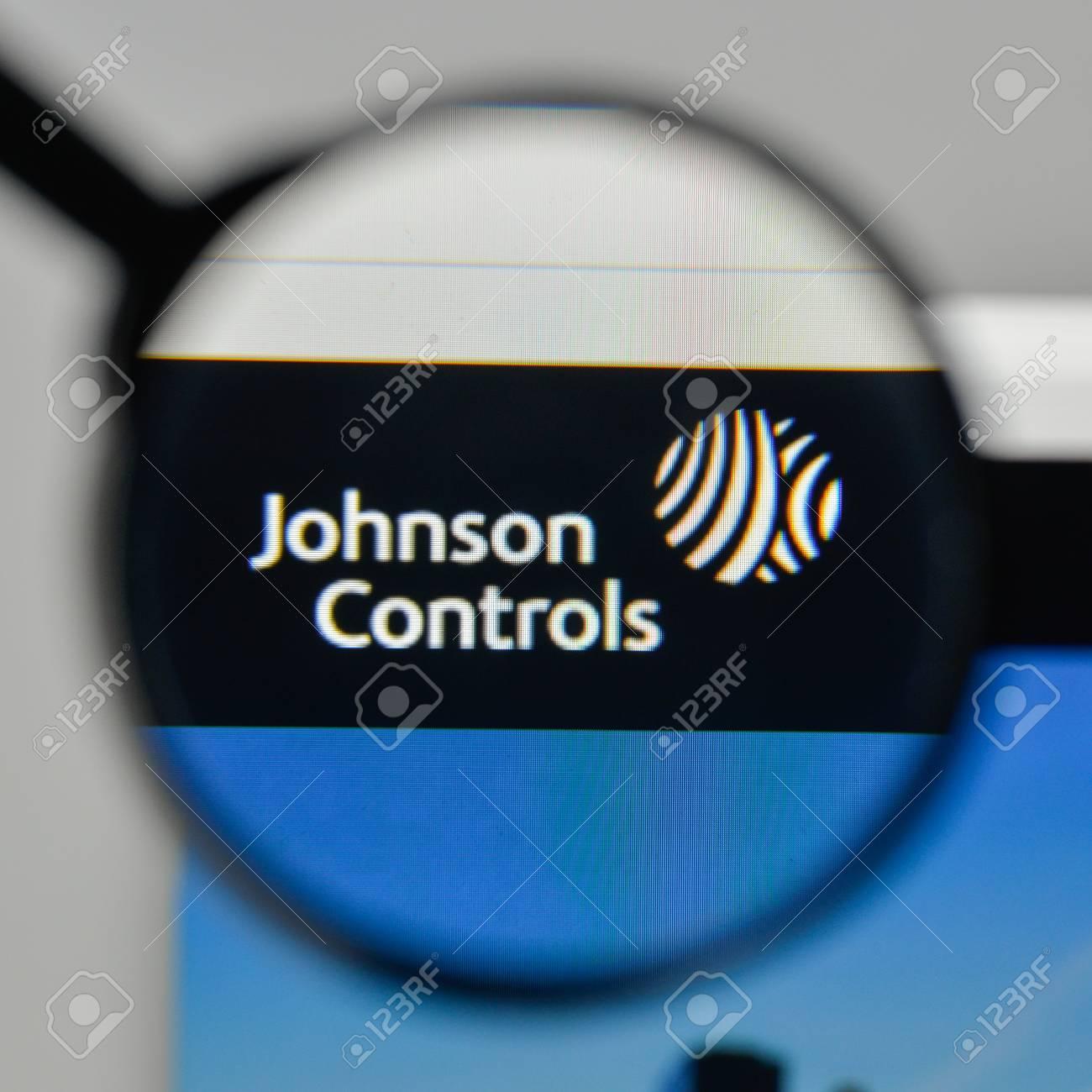 Milan, Italy - November 1, 2017: Johnson Controls logo on the