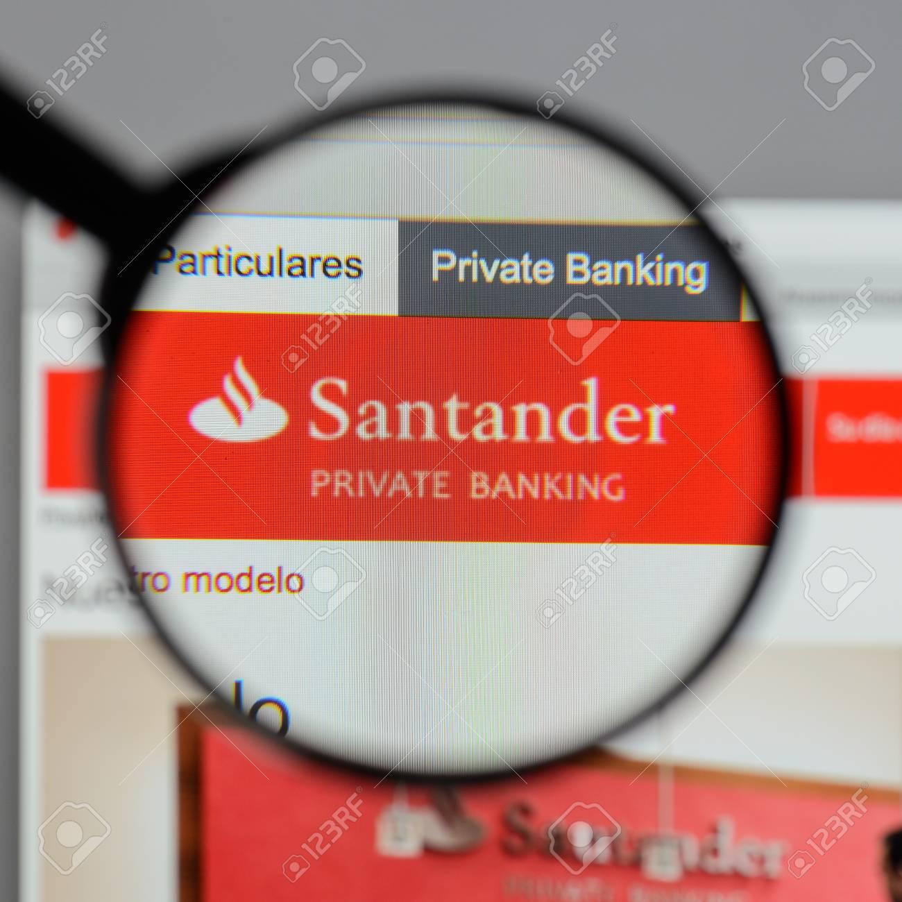Milan, Italy - August 10, 2017: Banco Santander logo on the website