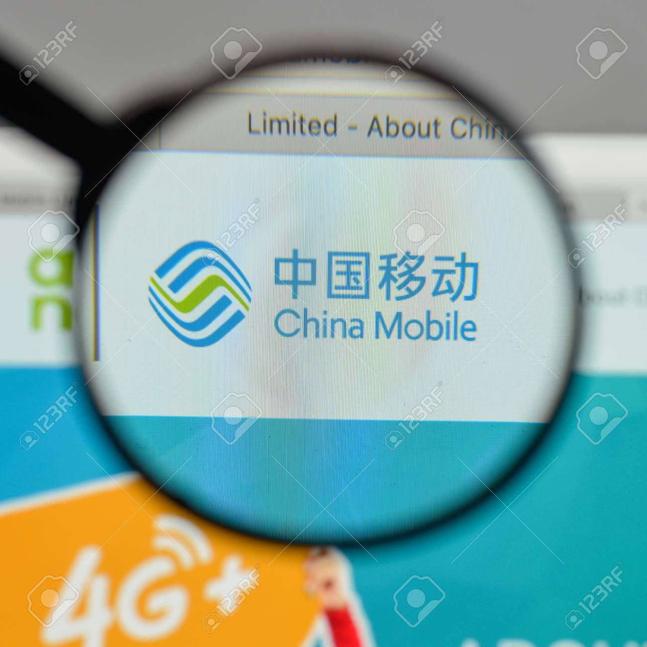 Milan, Italy - August 10, 2017: China Mobile logo on the website