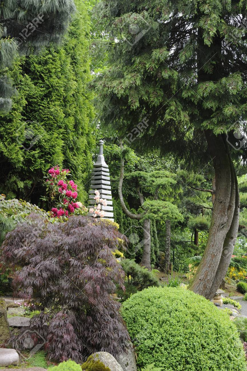 Japanese Garden With Stone Pagoda Stock Photo   86668504