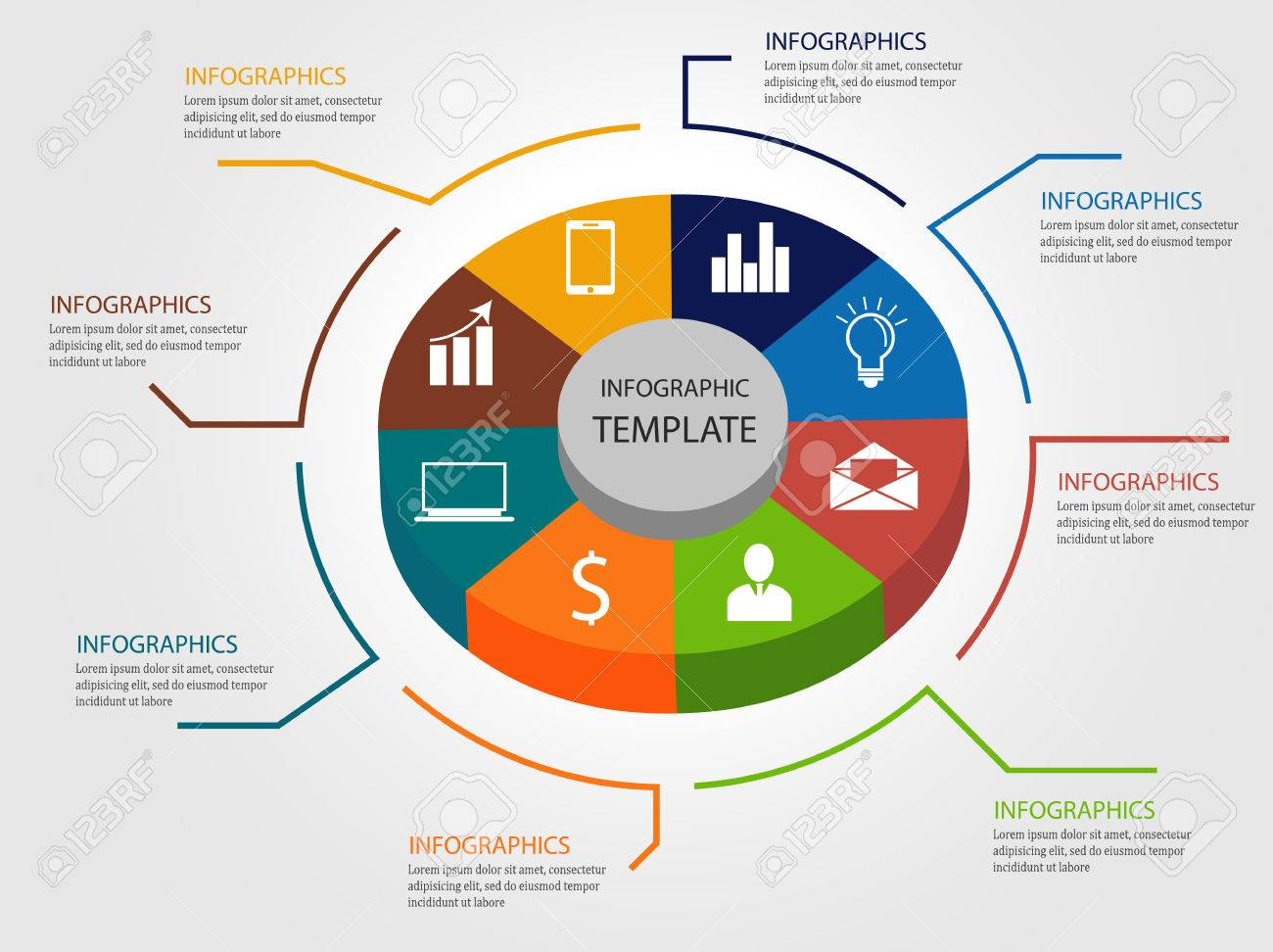 3d Infographic Template Pie Chart Vector Illustration Royalty Free