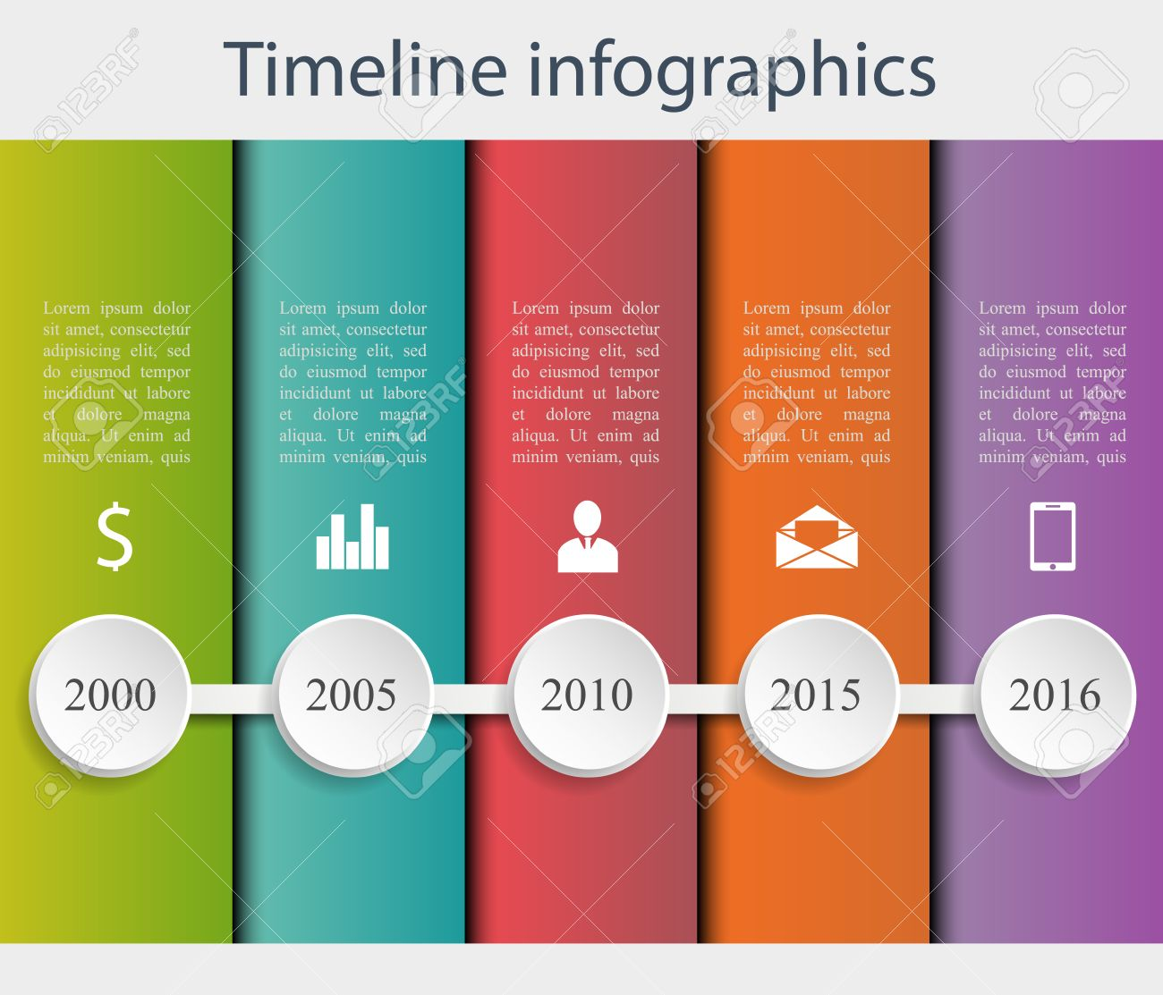 Colorful Flat Timeline Template. Can Be Use For Web Design, Web Elements,  Infographics