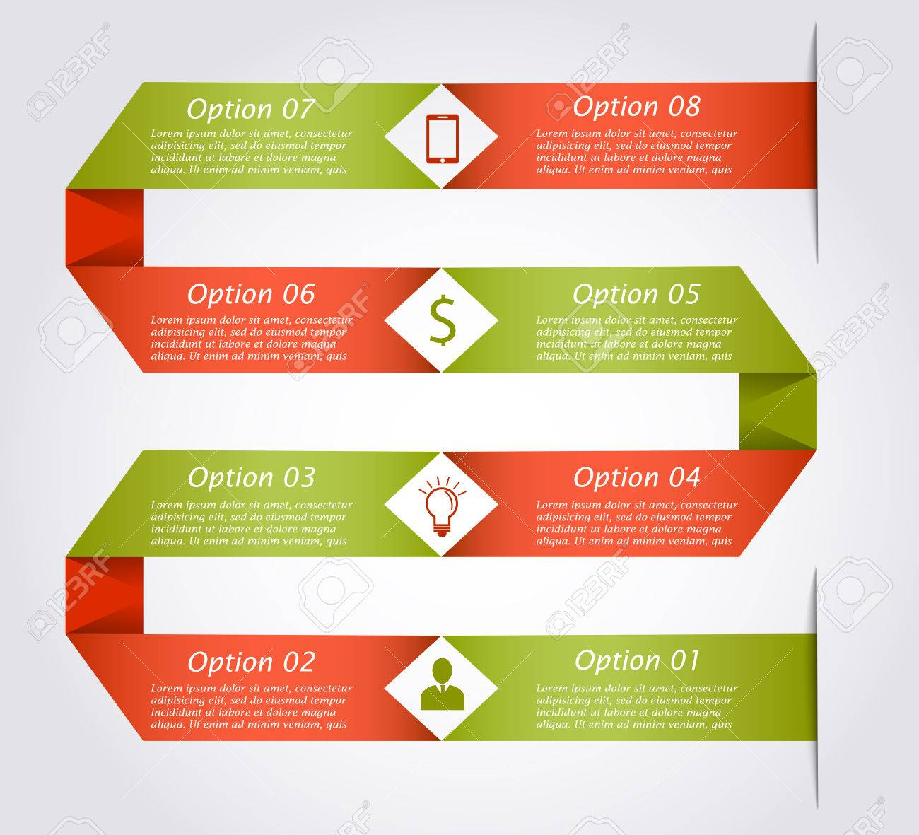 54266229 ribbon business infographic template in the form of snake business concept with 8 options parts step ribbon business infographic template in the form of snake business